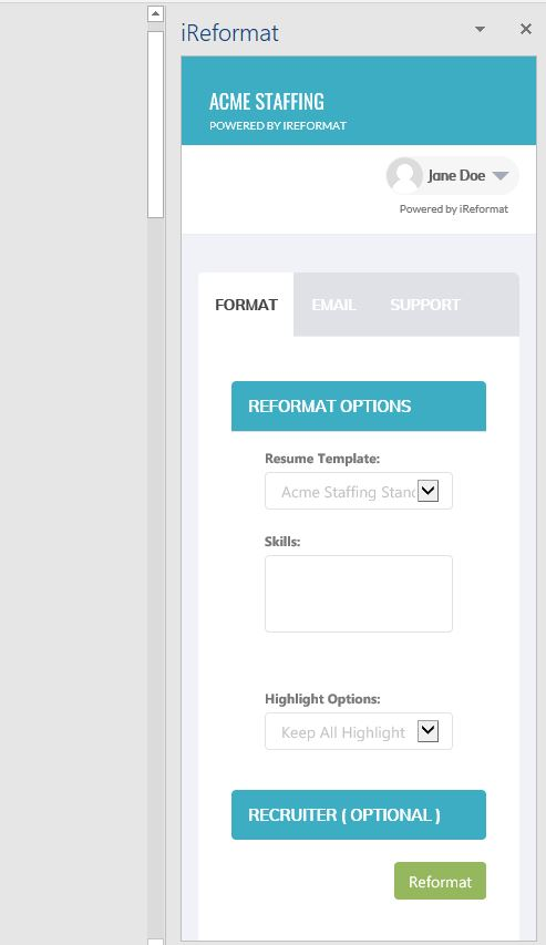 iReformat Office App Reformat Screen