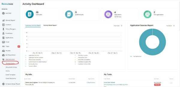 Recruiteze: User Administration