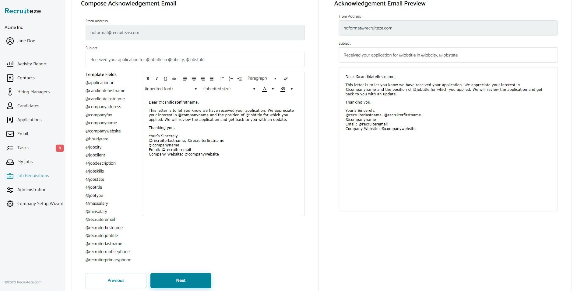 Applicant Tracking System: Career portal setup - step 3