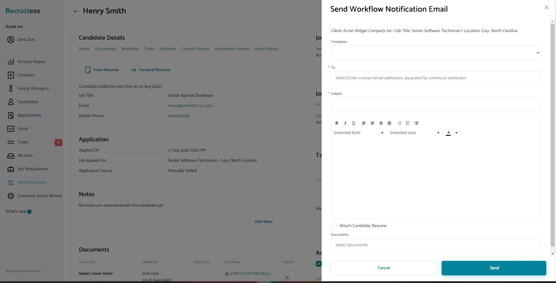 Candidate Management System: Workflow Notification Email