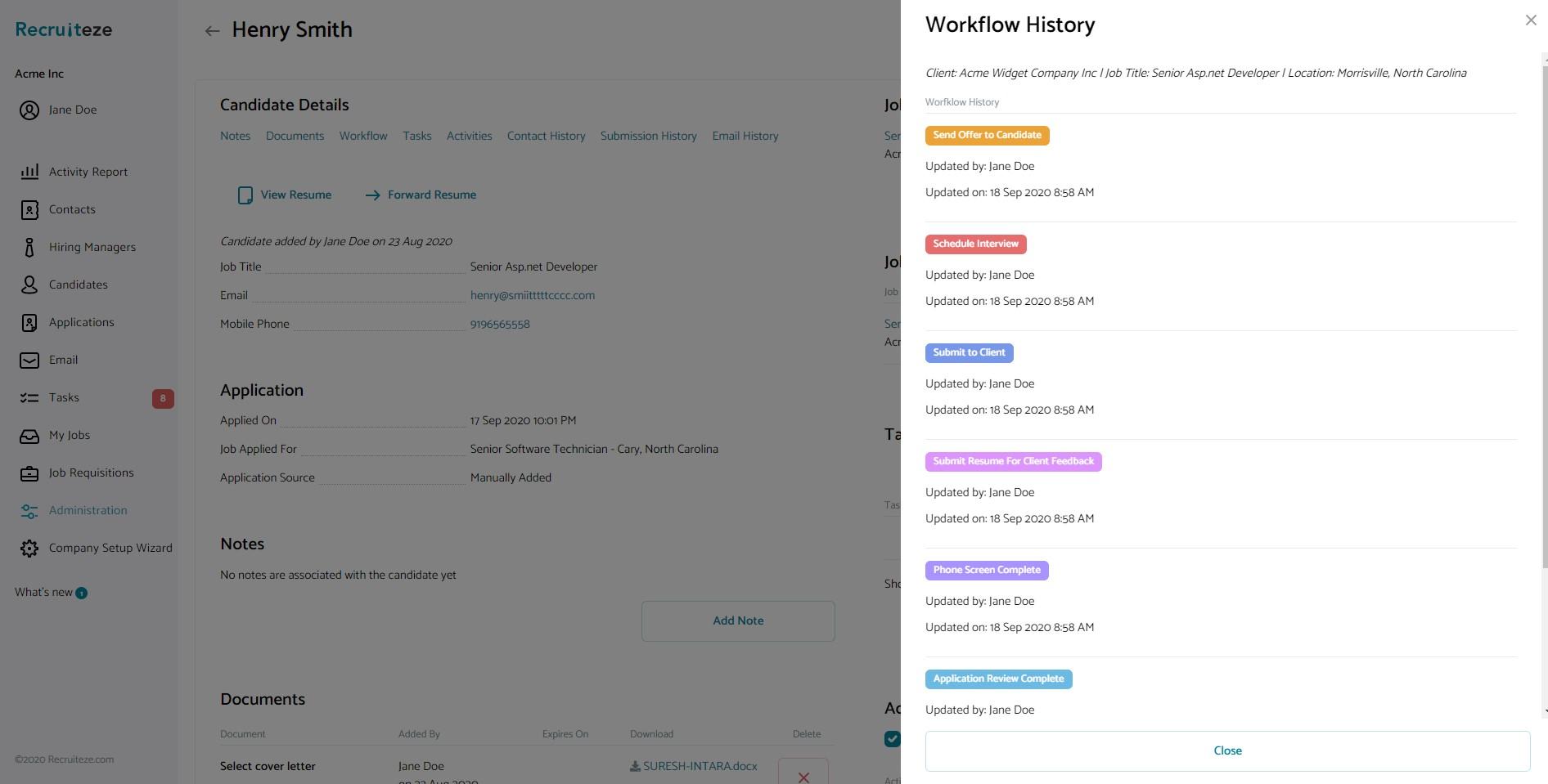 Candidate Management System: Workflow Detail