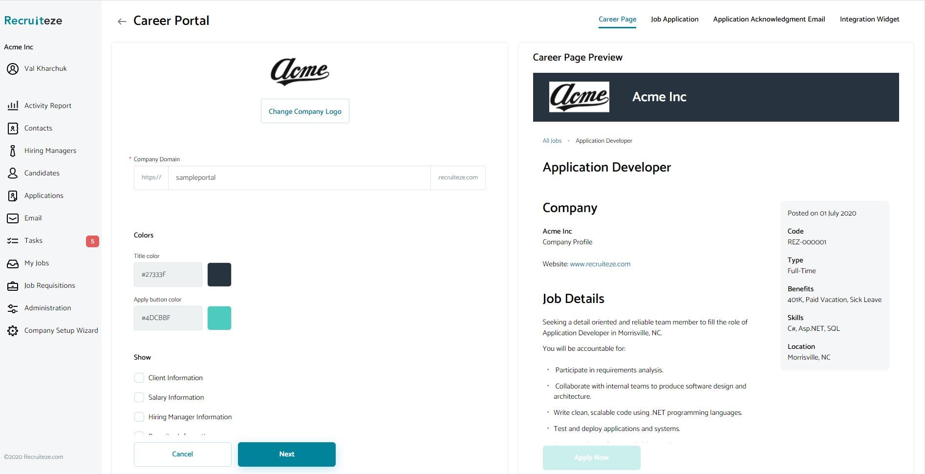 Recruiteze UI
