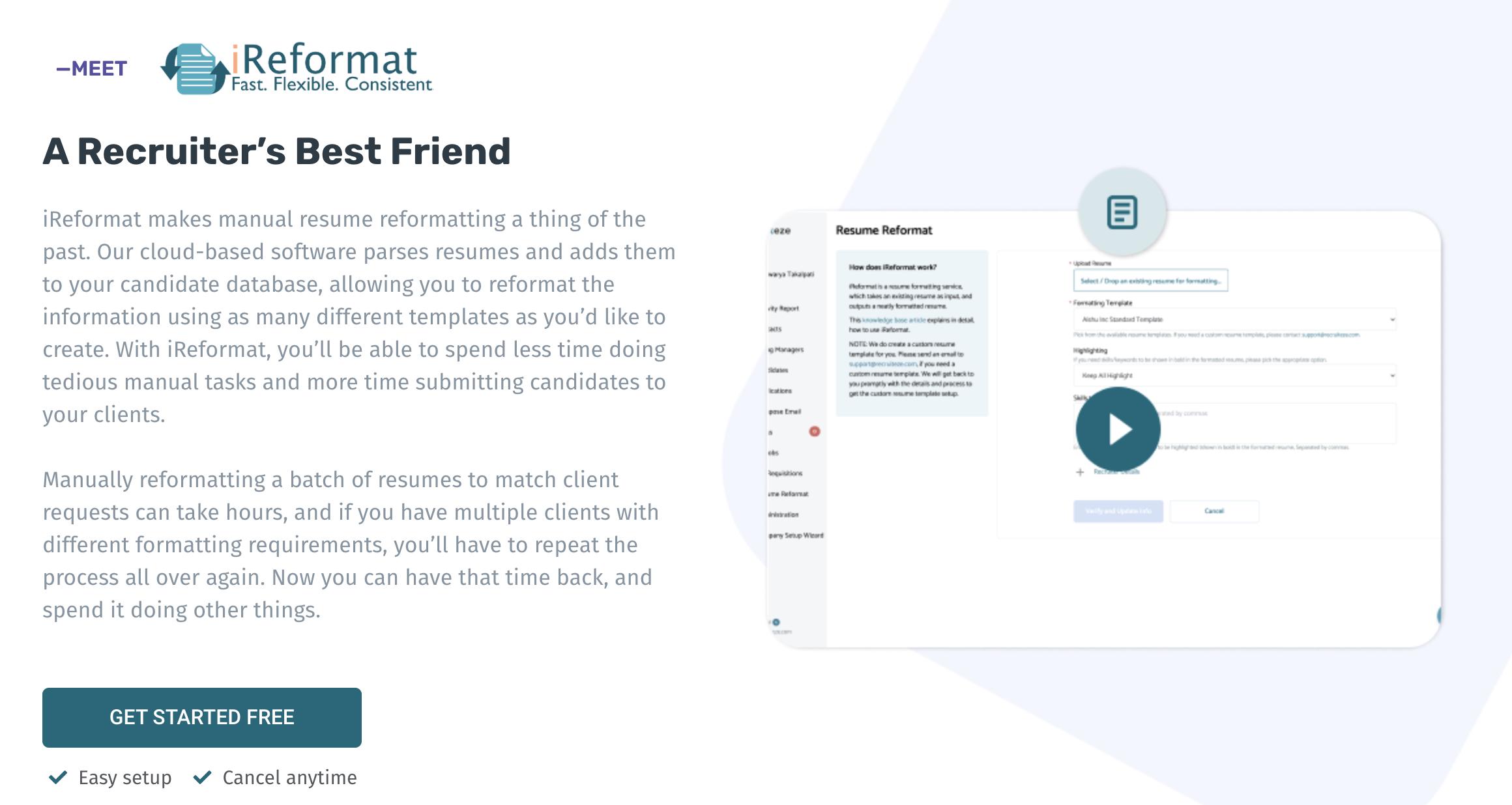 iReformat - A recruiter's best friend (benefits)