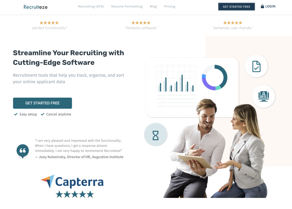 Recruiteze homepage