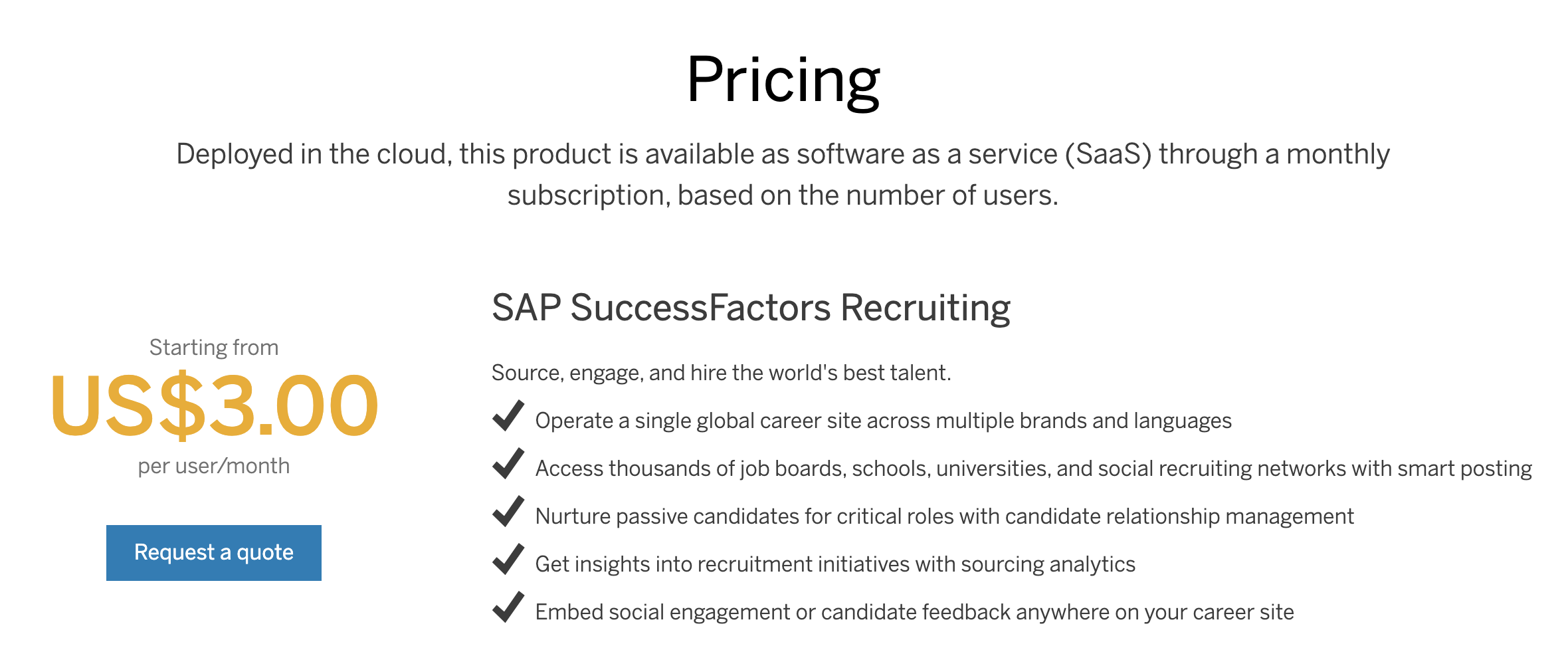 SAP SuccessFactors pricing plan