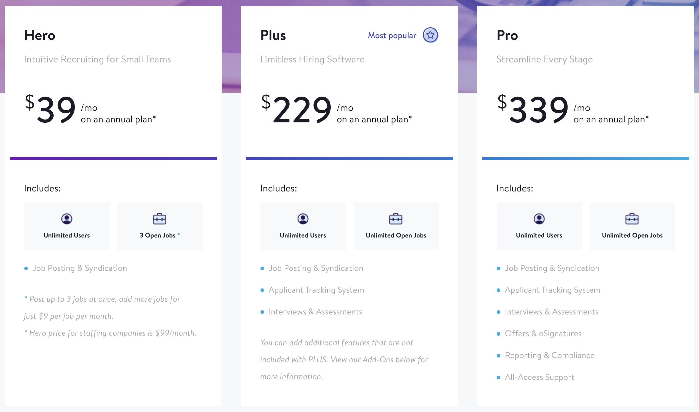 JazzHR pricing plans