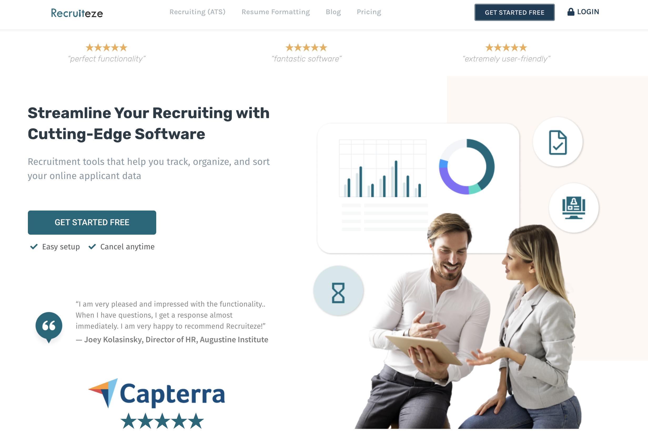 Recruiteze homepage