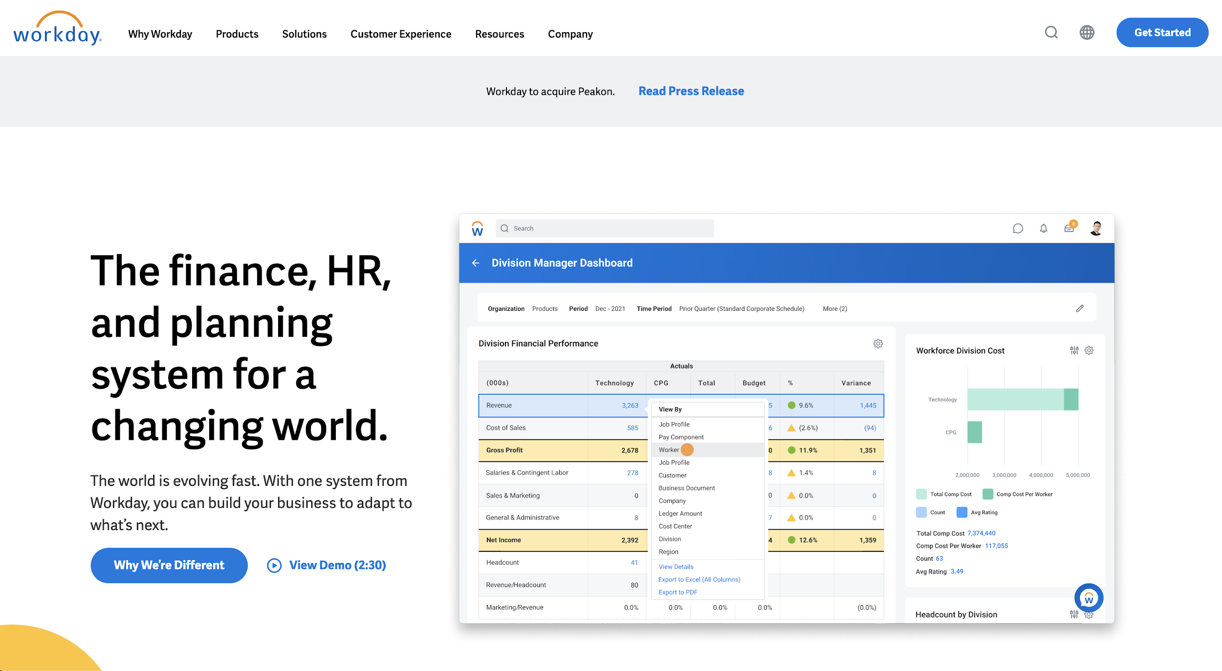 Workday homepage