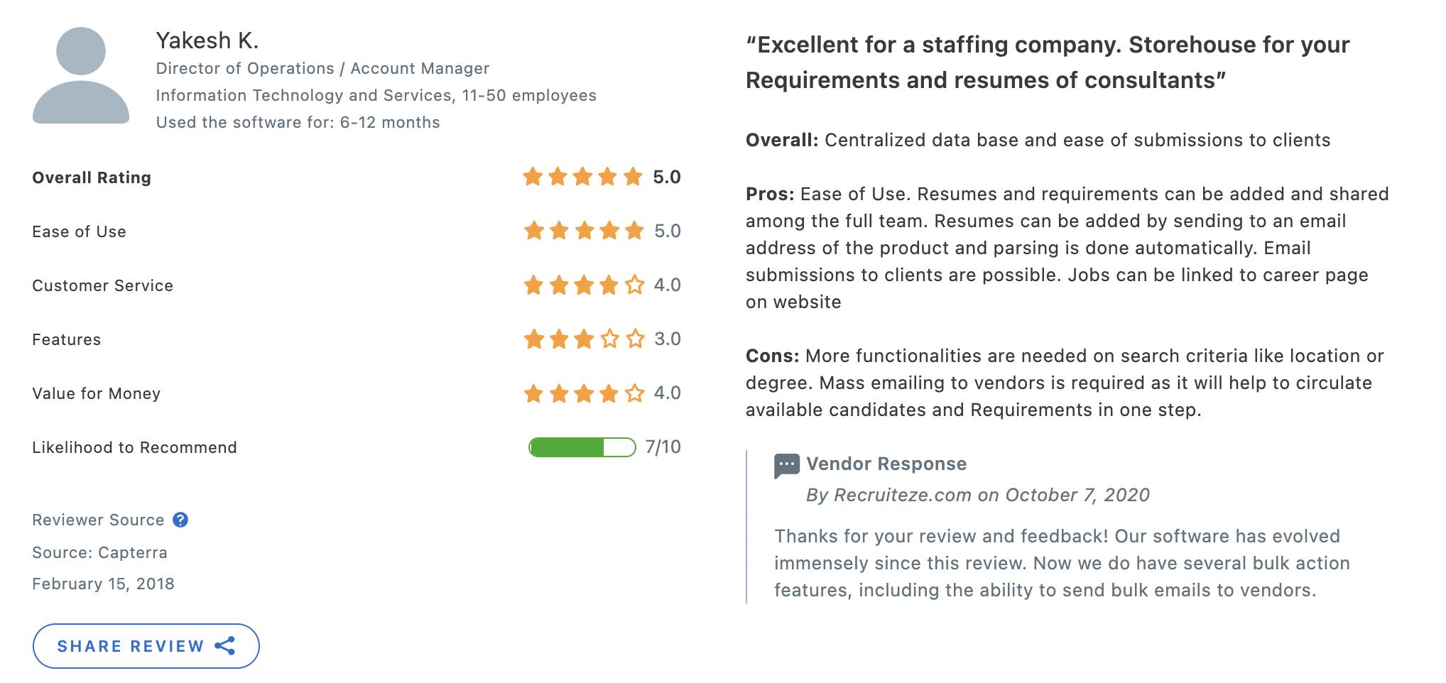 Recruiteze reviews